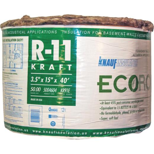 Knauf R-11 15 In. x 40 Ft. Greenguard Kraft Faced Roll Fiberglass Insulation