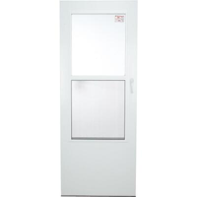 Larson Value-Core 32 In. W x 80 In. H x 1 In. Thick White Self-Storing Aluminum Storm Door