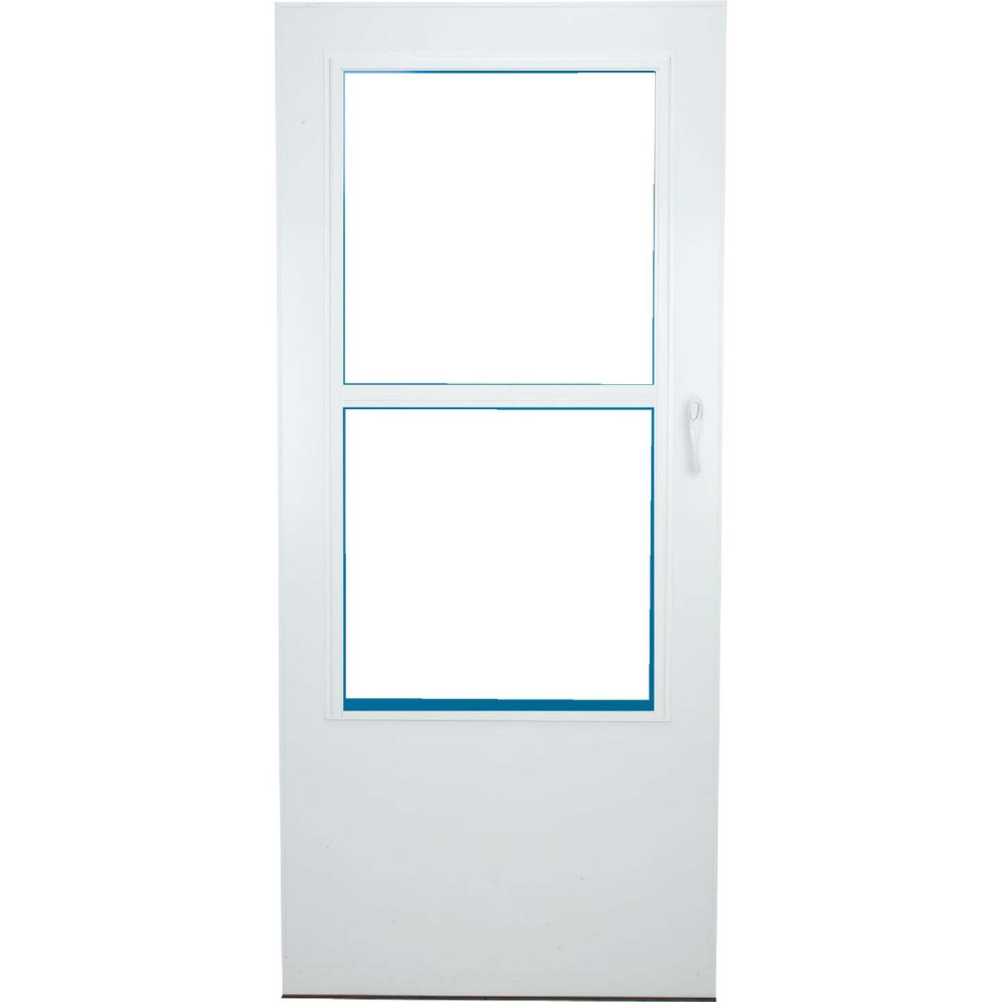 Larson Value-Core 36 In. W x 80 In. H x 1 In. Thick White Self-Storing Aluminum Storm Door Image 2