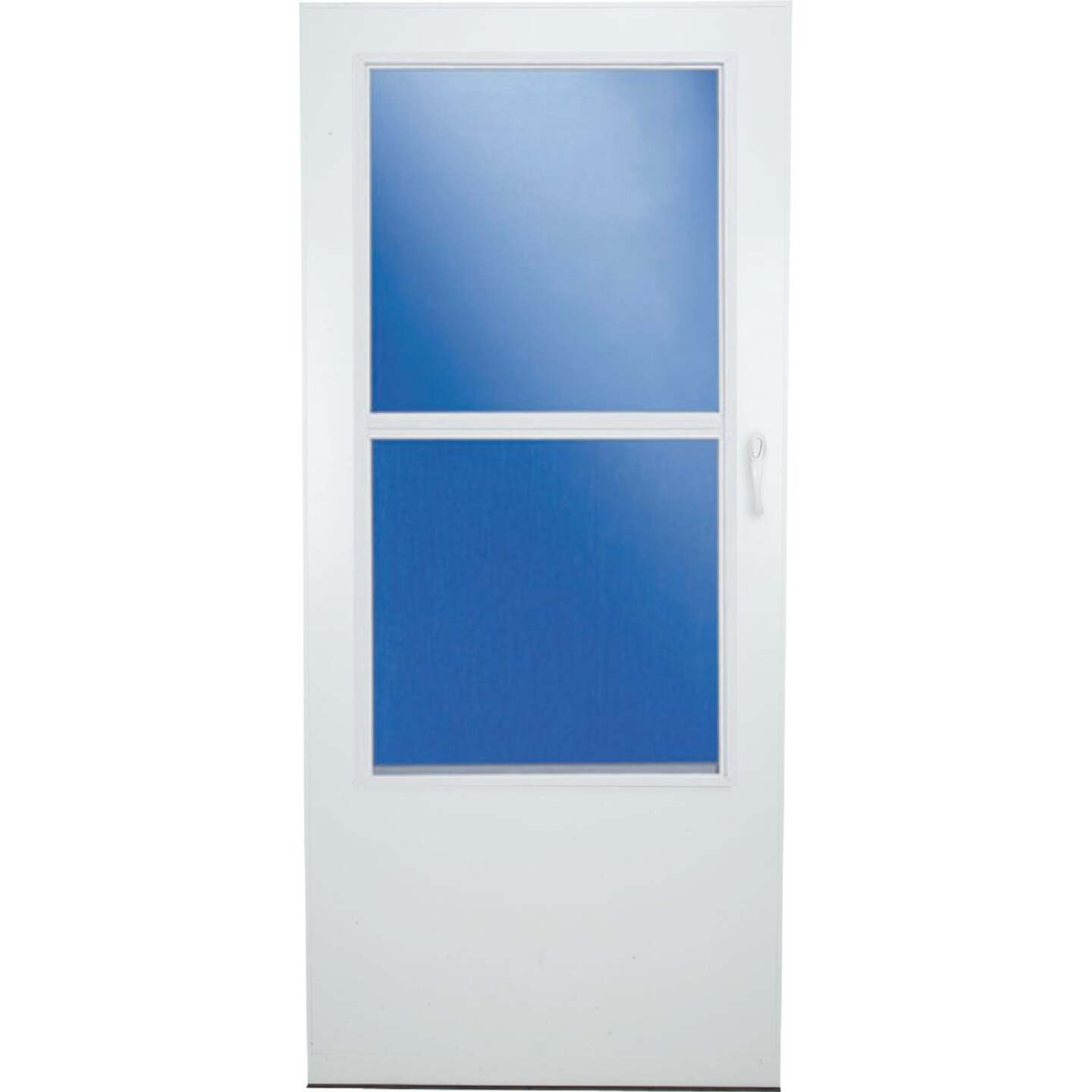 Larson Value-Core 36 In. W x 80 In. H x 1 In. Thick White Self-Storing Aluminum Storm Door Image 3
