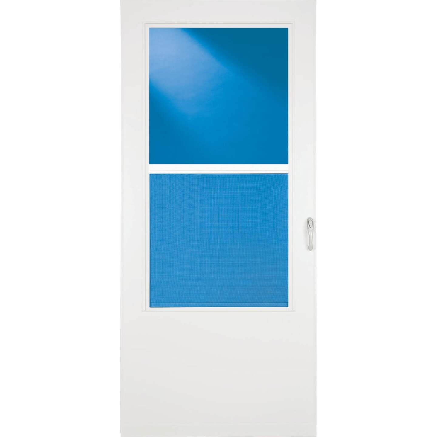 Larson Value-Core 36 In. W x 80 In. H x 1 In. Thick White Self-Storing Aluminum Storm Door Image 4