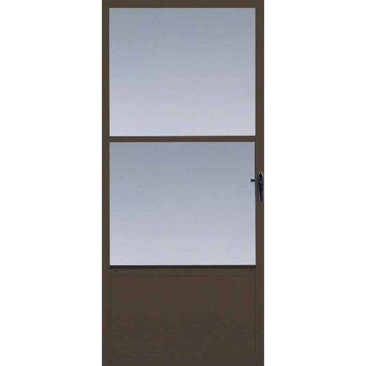 Larson Comfort-Bilt 32 In. W x 81 In. H x 1 In. Thick Brown Self-Storing Aluminum Storm Door