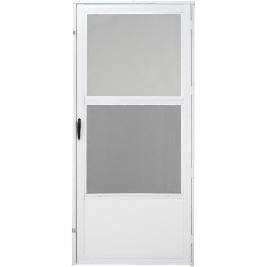 Croft Gibraltar Style 36 In. W x 80 In. H x 1-1/4 In. Thick White Self-Storing Aluminum Storm Door
