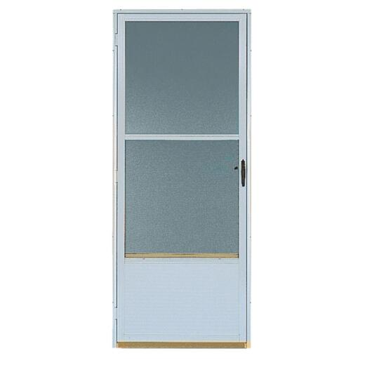 Croft Continental Style 36 In. W x 80 In. H x 1-1/4 In. Thick White Self-Storing Aluminum Storm Door