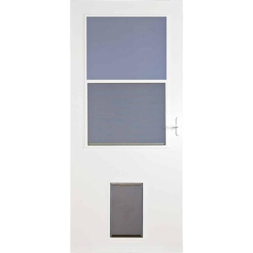 Larson Life-Core DuraTech 32 In. W x 81 In. H x 1 In. Thick White Self-Storing Storm Door With Pet Door