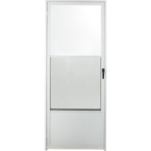 Croft Imperial Style 32 In. W x 80 In. H x 1-7/8 In. Thick White Self-Storing Aluminum Storm Door