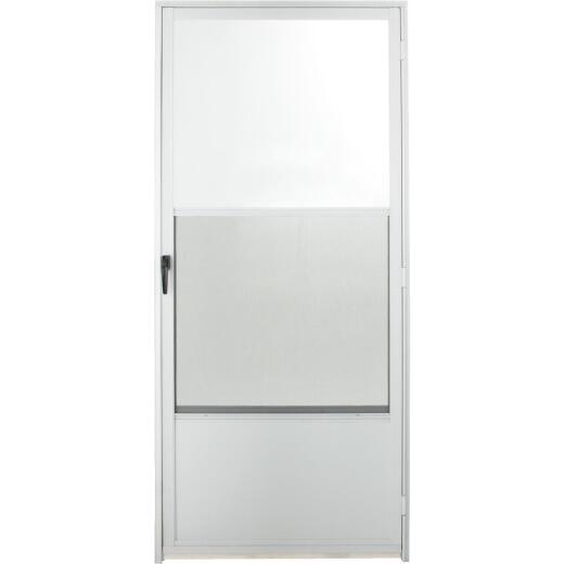 Croft Imperial Style 36 In. W x 80 In. H x 1-7/8 In. Thick White Self-Storing Aluminum Storm Door