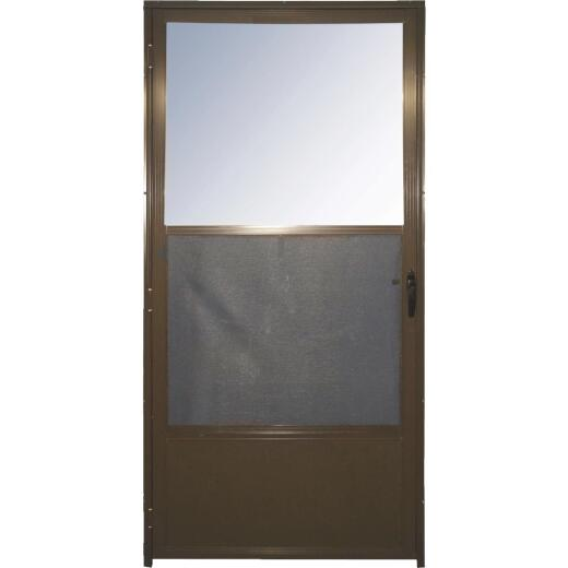 Croft Imperial Style 32 In. W x 80 In. H x 1-7/8 In. Thick Bronze Self-Storing Aluminum Storm Door