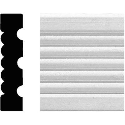 House of Fara 3/4 In. W. x 3-1/4 In. H. x 8 Ft. L. White MDF Fluted Casing Molding
