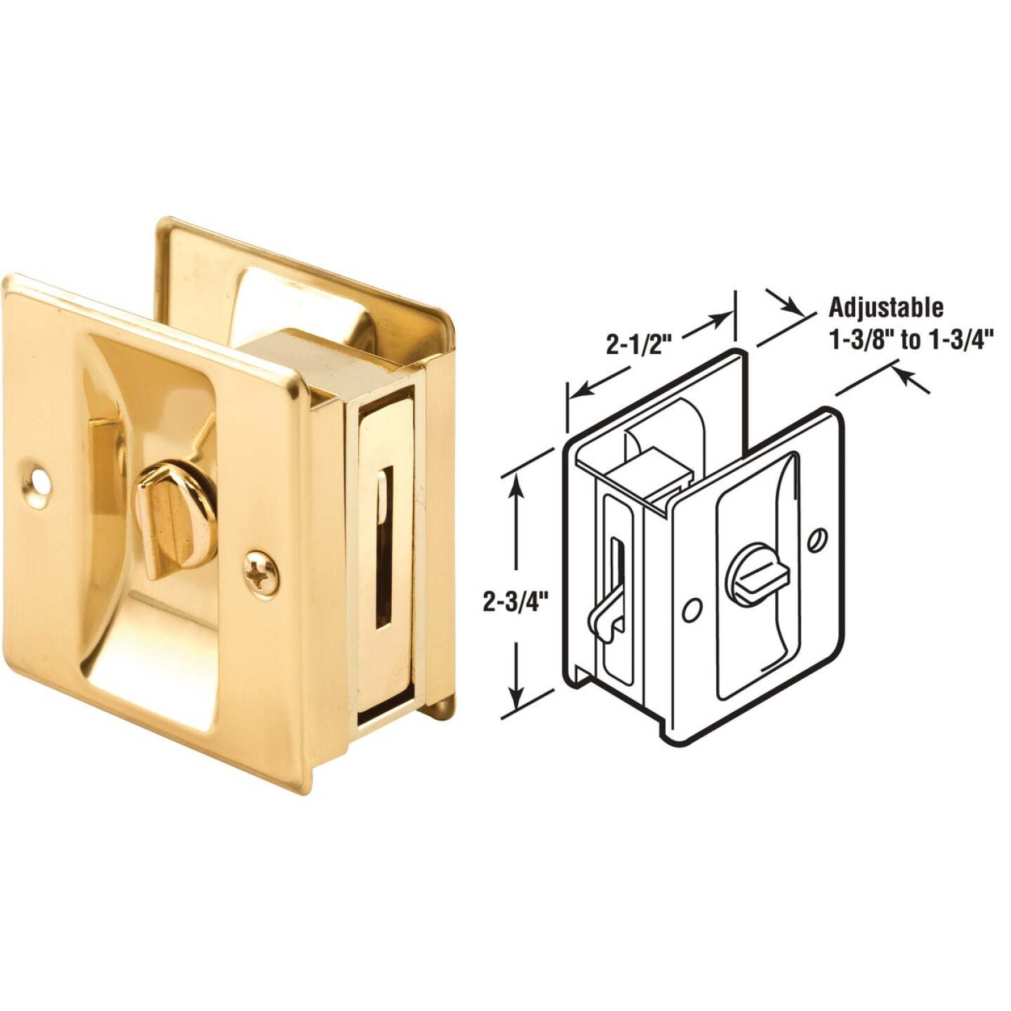 Prime-Line Brass Pocket Door Lock Pull Image 1