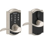 Schlage Camelot Satin Nickel Lever Touch Electronic Entry Lock Image 1