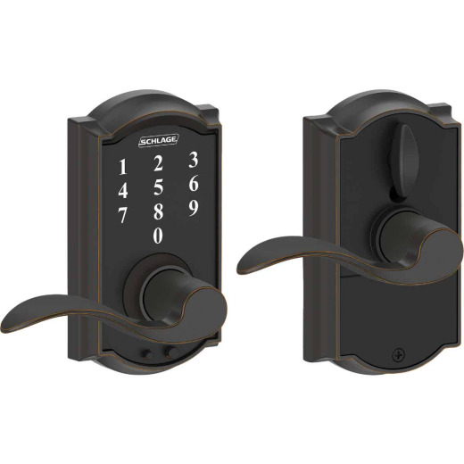Schlage Camelot Aged Bronze Lever Touch Electronic Entry Lock
