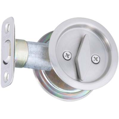 National Privacy Satin Nickel Pocket Door Lock Pull