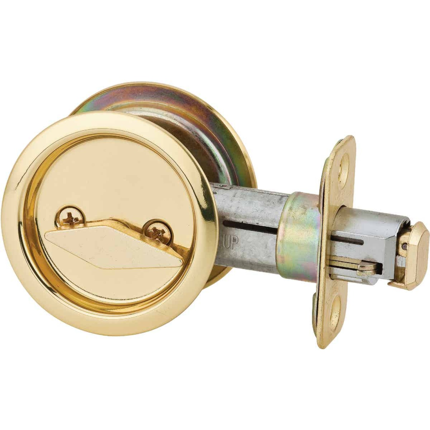 National Privacy Polished Brass Pocket Door Lock Pull Image 1
