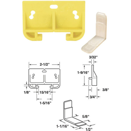 """Prime-Line 1-9/32"""" x 2-1/2"""" Polyethylene Track Guide (2 Count)"""