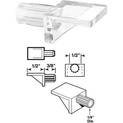 Prime-Line 1/4 In. Dia. x 7/8 In. L. Clear Butyrate Shelf Support 8 Count)