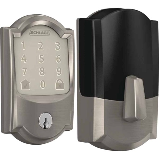 Schlage Encode Smart WiFi Deadbolt with Satin Nickel Camelot Trim