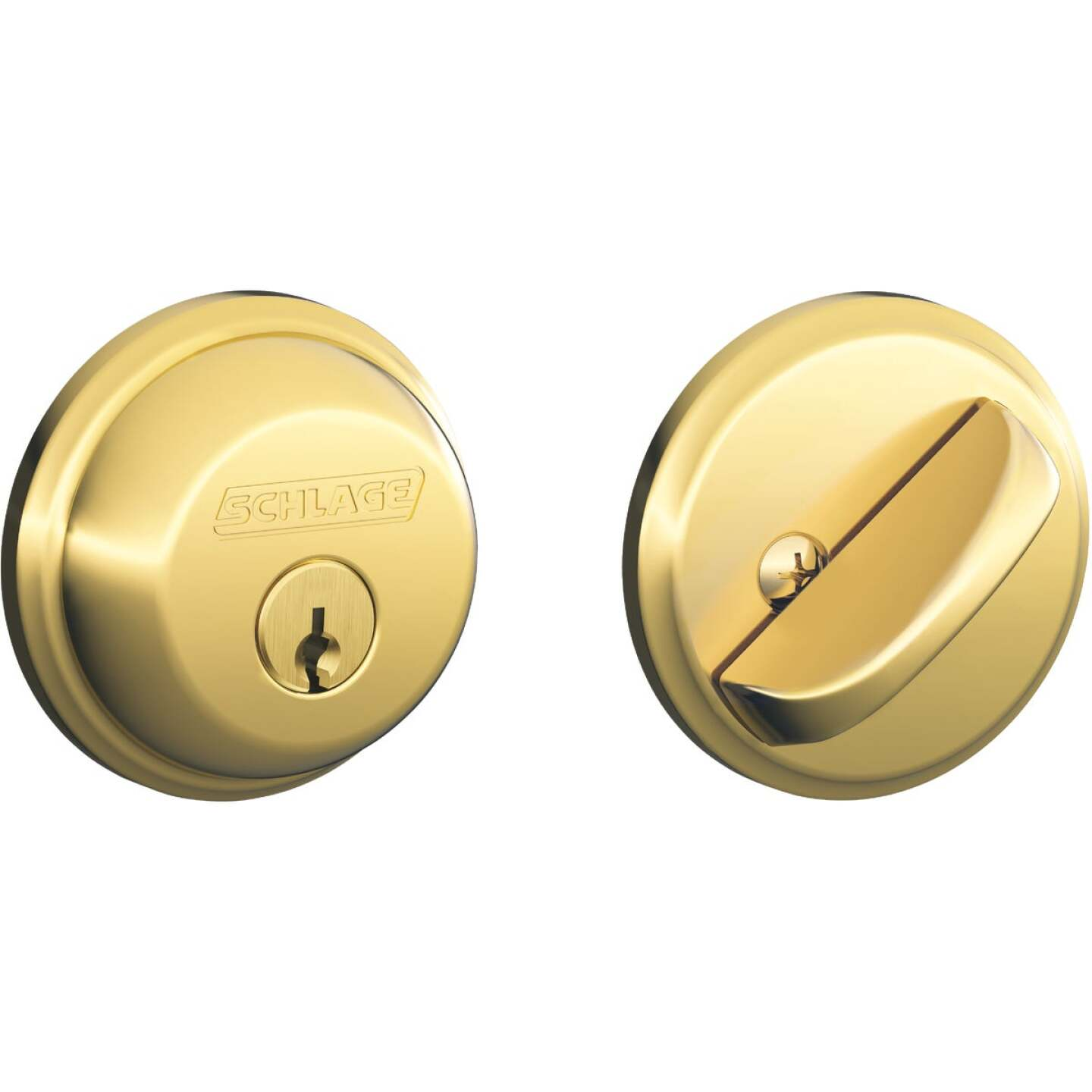 Schlage Bright Brass Single Cylinder Deadbolt Image 1