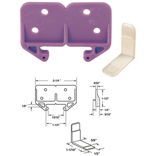 Prime-Line 2-1/4 In. W. Polyethylene White Track Guide (2-Count)