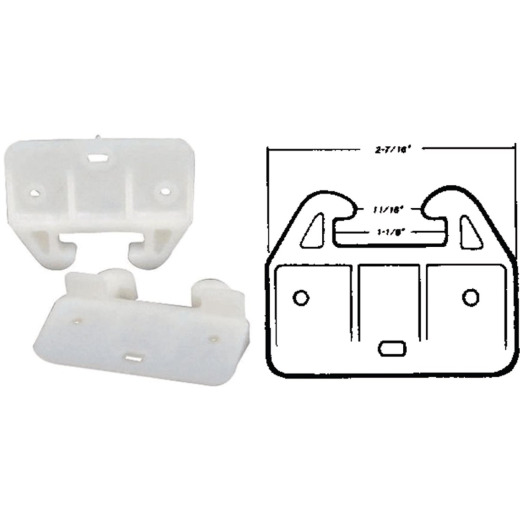 """United States Hardware 2-7/16"""" Rear Plastic White Track Guide (2-Pack)"""
