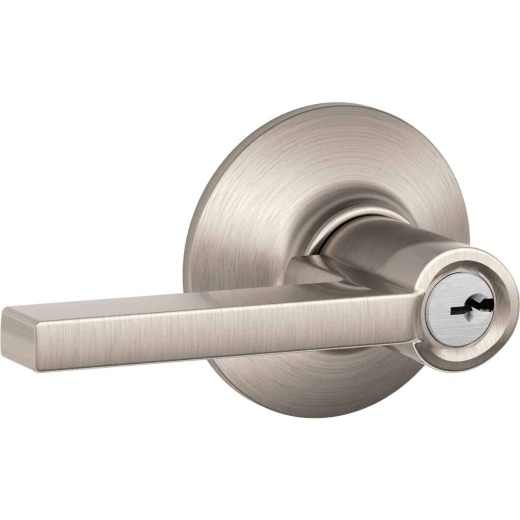 Schlage Latitude Satin Nickel Keyed Entry Door Lever