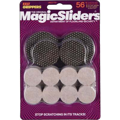 Magic Sliders Felt and Gripper Furniture Pad Assortment (56-Pack)