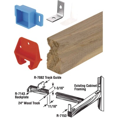 "Prime-Line Wood 24"" Top or Bottom Drawer Track Kit"