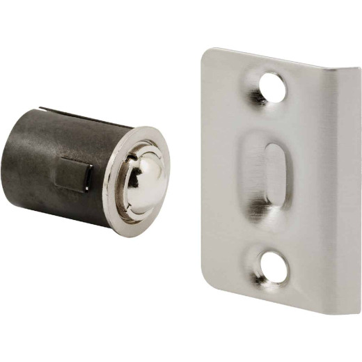 Prime-Line 3/4 In. x 1-3/16 In. Satin Nickel Drive-In Ball Bullet Catch & Strike
