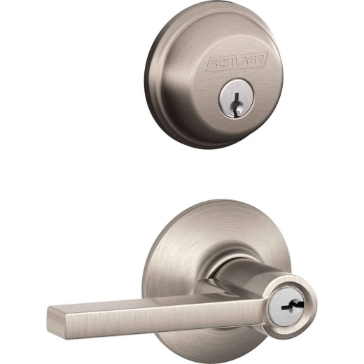 Schlage Satin Nickel Single Cylinder Deadbolt and Keyed Entry Latitude Lever Combination Pack