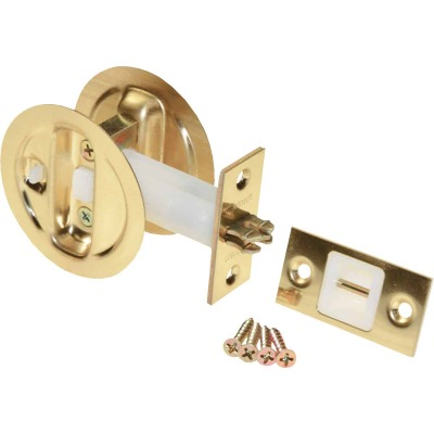 Johnson Hardware Brass Privacy Pocket Door Lock