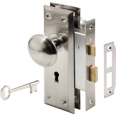 Defender Security Satin Nickel Keyed Mortise Entry Lock Set