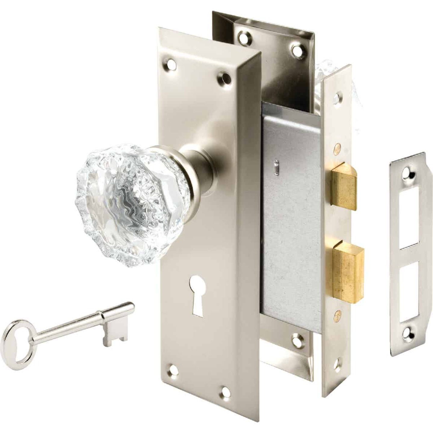 Defender Security Satin Nickel Keyed Mortise Entry Lock Set With Glass Knob Image 1