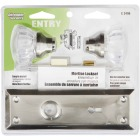 Defender Security Satin Nickel Keyed Mortise Entry Lock Set With Glass Knob Image 2
