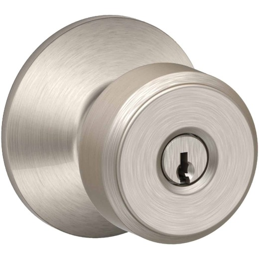 Schlage Bowery Satin Nickel Knob Keyed Entry Door Knob