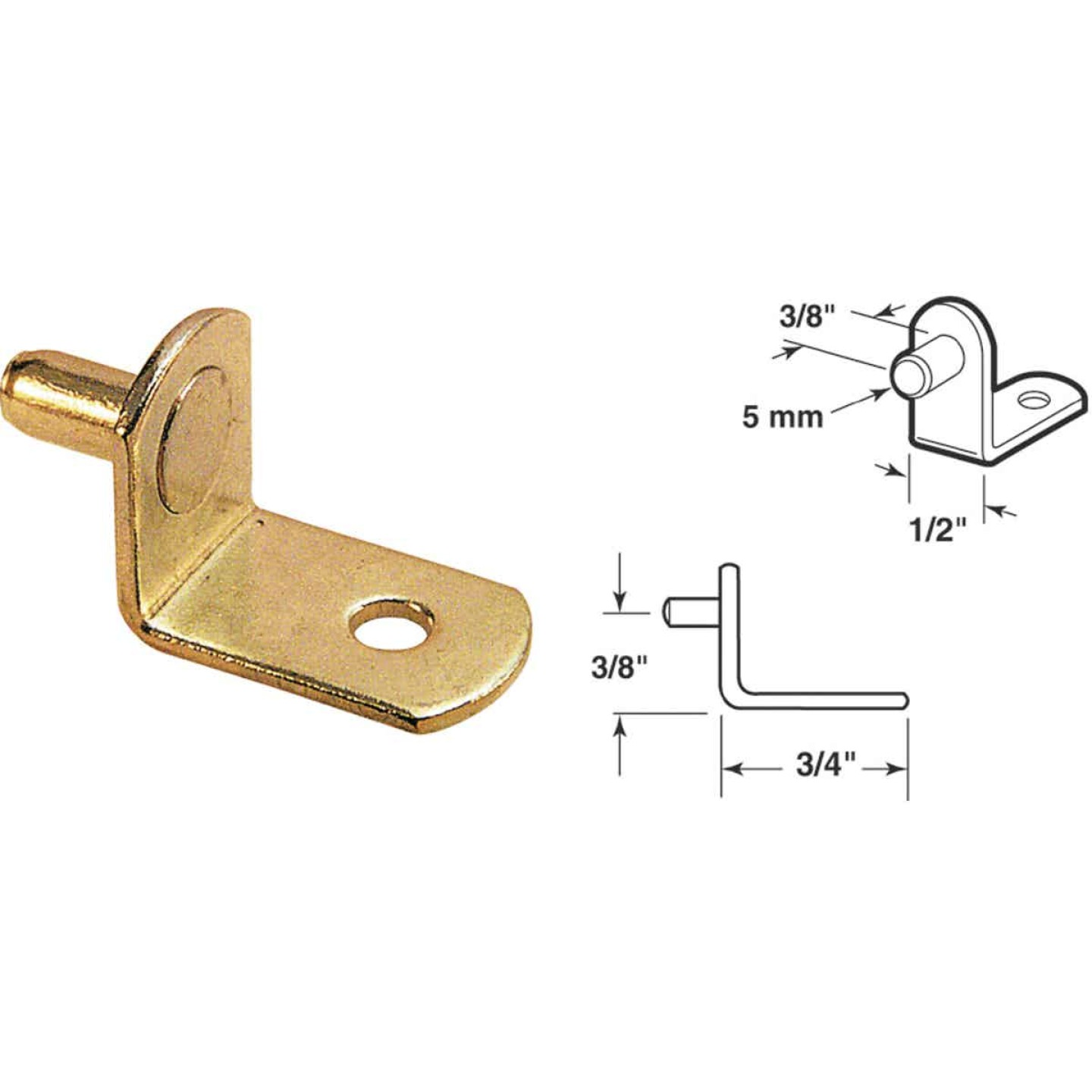 Prime-Line 5mm Brass Metal Shelf Support (8-Count) Image 1
