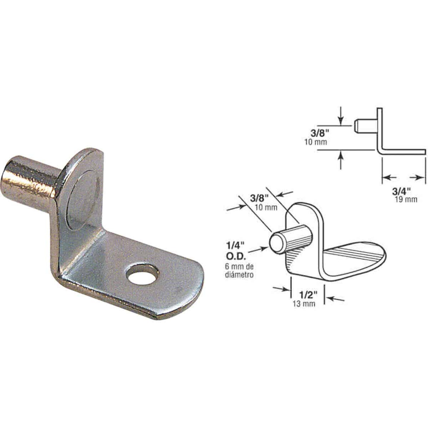 Prime-Line 1/4 In. Nickel Shelf Support (8-Count) Image 1