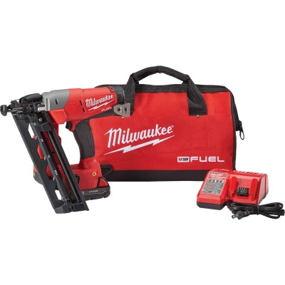 Milwaukee M18 FUEL 18-Volt Lithium-Ion Brushless 16-Gauge 2-1/2 In. Angled Cordless Finish Nailer Kit