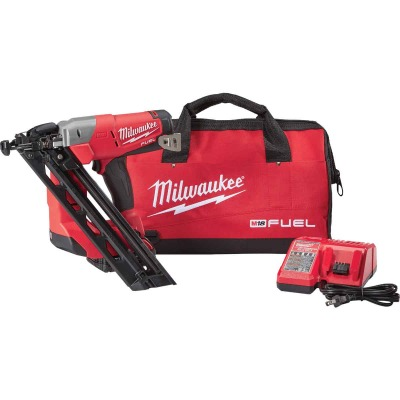 Milwaukee M18 FUEL 18-Volt Lithium-Ion Brushless 15-Gauge 2-1/2 In. Angled Cordless Finish Nailer Kit