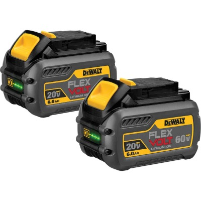 DeWalt Flexvolt 20 Volt and 60 Volt MAX Lithium-Ion 6.0 Ah Tool Battery (2-Pack)