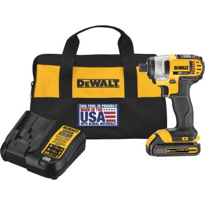 DeWalt 20 Volt MAX Lithium-Ion 1/4 In. Hex Cordless Impact Driver Kit