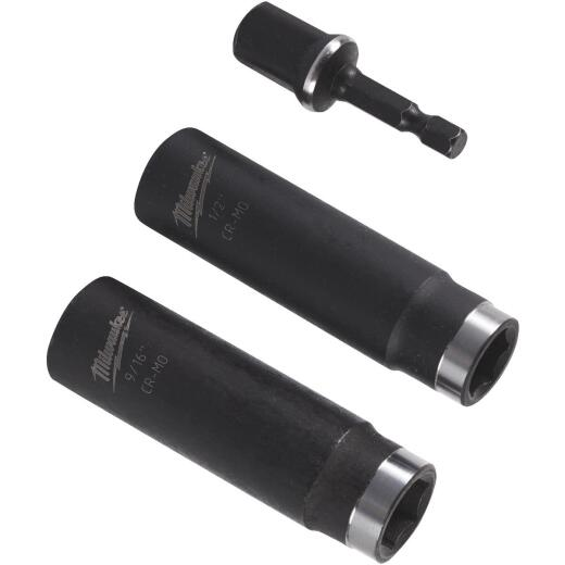Milwaukee Shockwave Standard 1/2 In. Adapter, 1/2 In. & 9/16 In. Drive 6-Point Thin Wall Deep Impact Driver Set (3-Piece)