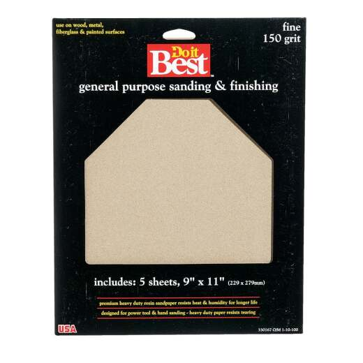 Do it Best General Purpose 9 In. x 11 In. 150 Grit Fine Sandpaper (5-Pack)
