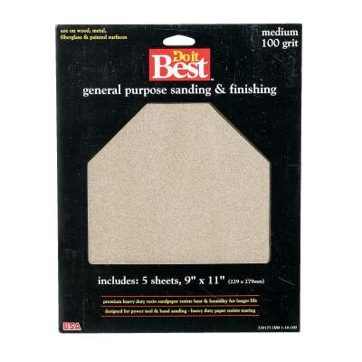 Do it Best General Purpose 9 In. x 11 In. 100 Grit Medium Sandpaper (5-Pack)