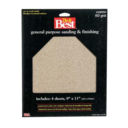 Do it Best General Purpose 9 In. x 11 In. 60 Grit Coarse Sandpaper (4-Pack)