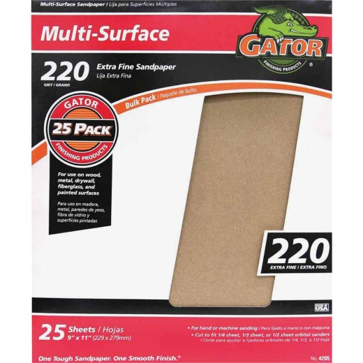 Gator Multi-Surface 9 In. x 11 In. 220 Grit Extra Fine Sandpaper (25-Pack)