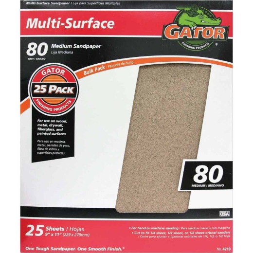 Gator Multi-Surface 9 In. x 11 In. 80 Grit Medium Sandpaper (25-Pack)