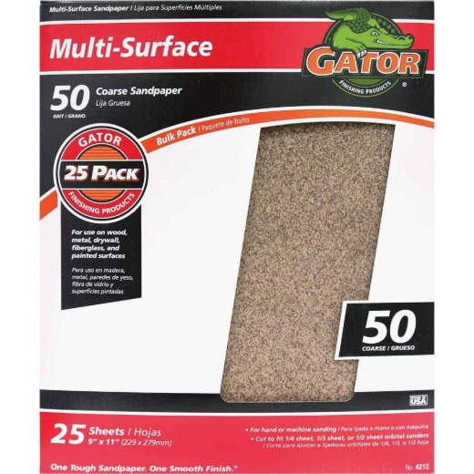Gator Multi-Surface 9 In. x 11 In. 50 Grit Coarse Sandpaper (25-Pack)