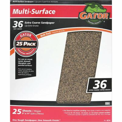 Gator Multi-Surface 9 In. x 11 In. 36 Grit Extra Coarse Sandpaper (25-Pack)