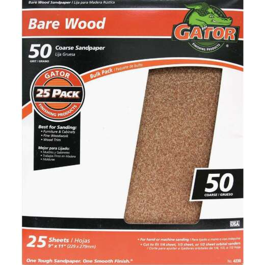 Gator Bare Wood 9 In. x 11 In. 50 Grit Coarse Sandpaper (25-Pack)