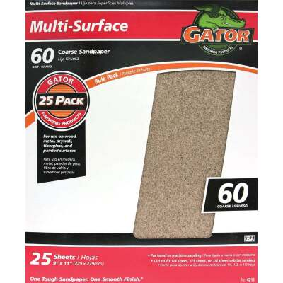 Gator Multi-Surface 9 In. x 11 In. 60 Grit Coarse Sandpaper (25-Pack)